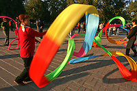 Similar in style to the Chinese Fan Dance, the banner or handkerchief dance originated in northern China. It is noted for its skilful and difficult motions and popular among ordinary people. The movements serve as exercise as an extra bonus.