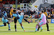 Padraig Amond of Newport county (9) is denied by Joe Jacobson (3) and goalkeeper Scott Brown of Wycombe Wanderers. EFL Skybet football league two match, Newport county v Wycombe Wanderers at Rodney Parade in Newport, South Wales on Saturday 9th September 2017.<br /> pic by Andrew Orchard, Andrew Orchard sports photography.