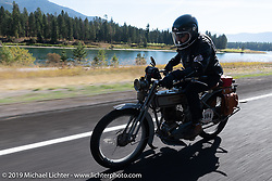 Bret Yeager on his 1914 Harley-Davidson on the Motorcycle Cannonball coast to coast vintage run. Stage 13 (254 miles) Kalispell, MT to Spokane, WA. Friday September 21, 2018. Photography ©2018 Michael Lichter.