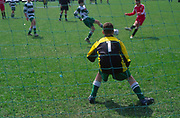 AF5GM9 Children's football tournament. View of goalkeeper from behind the net
