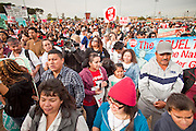 """16 JANUARY 2010 -- PHOENIX, AZ: The crowd at Falcon Park. About 10,000 people marched the 2.5 miles from Falcon Park to the """"Tent City"""" on Durango to protest against Maricopa County Sheriff Joe Arpaio and his immigration enforcement tactics.  PHOTO BY JACK KURTZ"""