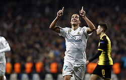 December 6, 2017 - Madrid, Spain - Lucas Vazquez of Real Madrid celebrates after scoring a goal to make it 3-2 during the UEFA Champions League group H match between Real Madrid and Borussia Dortmund at Santiago Bernabéu. (Credit Image: © Manu_reino/SOPA via ZUMA Wire)