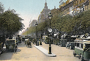 Paris c1900. Boulevard des Italiens with cars and motor buses. Tinted lithograph.