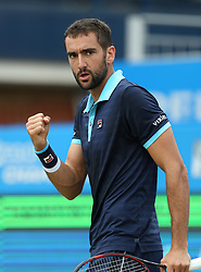 Croatia's Marin Cilic celebrates a point against USA's Donald Young during day five of the 2017 AEGON Championships at The Queen's Club, London.