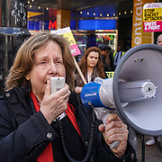 London, UK. 2nd April, 2017. Margot Hill of UCU branch secretary speaks at the demonstration against a horrific attack which took place last night 1st April 2017 which attacks by 8 home growth terror gangs left a 17 year old asylum seeker fighting for his life in Croydon. Protestors give a simple message community  should live in fear in out society, London,UK. by See Li