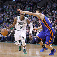 04 March 2012: Boston Celtics point guard Rajon Rondo (9) drives past New York Knicks point guard Jeremy Lin (17) during the Boston Celtics 115-111 (OT) victory over the New York Knicks at the TD Garden, Boston, Massachusetts, USA.