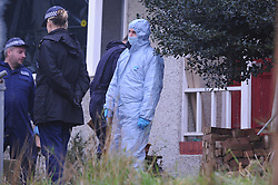 © Licensed to London News Pictures. 06/01/2016<br /> Police search team searching the front garden this afternoon.<br /> Ex-Eastenders actress Sian Blake's home in Erith,Kent has turned into a crime scene (06.01.2016) with officers from the Met's Homicide and Major Crime Command leading the murder investigation.<br /> <br /> (Byline:Grant Falvey/LNP)