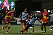 Rey Lee-Lo of Cardiff Blues ©. Guinness Pro14 rugby match, Cardiff Blues v Dragons at the Cardiff Arms Park in Cardiff, South Wales on Friday 6th October 2017.<br /> pic by Andrew Orchard, Andrew Orchard sports photography.