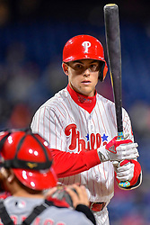 April 11, 2018 - Philadelphia, PA, U.S. - PHILADELPHIA, PA - APRIL 11: Philadelphia Phillies left fielder Scott Kingery (4) looks to the ump for clarification during the MLB game between the Cincinnati Reds and the Philadelphia Phillies on April 11, 2018 at Citizens Bank Park in Philadelphia PA. (Photo by Gavin Baker/Icon Sportswire) (Credit Image: © Gavin Baker/Icon SMI via ZUMA Press)