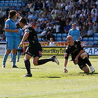 Photo: Steve Bond.<br />Coventry City v West Bromwich Albion. Coca Cola Championship. 28/04/2007. Paul Robinson (centre left)peels away after giving West Brom the lead