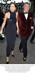 Hong Kong millionaire MR DAVID TANG and MISS LUCY WASTNAGE, at a party in London on 12th September 2002.PDE 40
