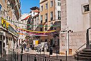 Lisbon, November 2012. Traditional street at popular Alfama district.