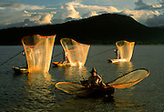 MEXICO, MICHOACAN STATE, LANDSCAPE Lake Patzcuaro with famous, traditional butterfly fishermen using distinctive nets to catch whitefish
