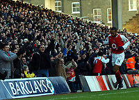Photo: Javier Garcia/Back Page Images<br />Arsenal v Fulham, FA Barclays Premiership, Highbury, 26/12/04<br />Thierry Henry celebrates his opener with the Clock End