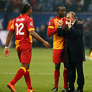 Galatasaray's head coach Fatih Terim with Didier Drogba during their UEFA Champions League Round of 16 Second Leg match FC Schalke 04 between Galatasaray at the Gelsenkirchen stadium, Germany, on March 12, 2013. Galatasaray won 3-2. Photo by TURKPIX