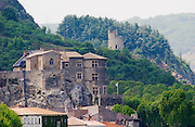 The Chateau de Tournon in the town Tournon and in the background a tower in ruins. Built on a cliff in the 14th fourteenth and 15th fifteenth century by the Seigneurs de Tournon.  Tournon-sur-Rhone, Ardeche Ardèche, France, Europe