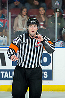 KELOWNA, BC - JANUARY 4: Referee Kyle Kowalski stands at center ice at the Kelowna Rockets against the Vancouver Giants at Prospera Place on January 4, 2020 in Kelowna, Canada. (Photo by Marissa Baecker/Shoot the Breeze)