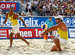 07.08.2011, Klagenfurt, Strandbad, AUT, Beachvolleyball World Tour Grand Slam 2011, im Bild Ricardo Santos und Petdro Cunha (BRA), EXPA Pictures © 2011, PhotoCredit: EXPA/ Erwin Scheriau