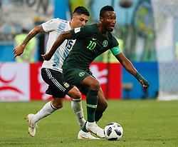 June 26, 2018 - Saint Petersburg, Russia - John Obi Mikel (R) of Nigeria national team and Enzo Perez of Argentina national team during the 2018 FIFA World Cup Russia group D match between Nigeria and Argentina on June 26, 2018 at Saint Petersburg Stadium in Saint Petersburg, Russia. (Credit Image: © Mike Kireev/NurPhoto via ZUMA Press)
