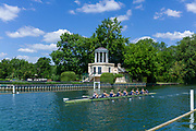 """Henley on Thames, United Kingdom, 22nd June 2018, Friday,   """"Henley Women's Regatta"""",  view, Women's Championship Eights, 379<br /> Yale Univ (USA) (B)  <br />  move past the Temple Island Folly, Henley Reach, Thames valley,  River Thames, England, © Peter SPURRIER"""