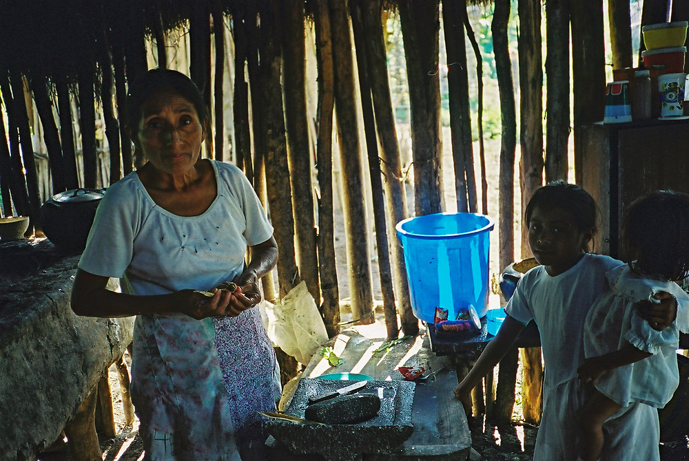 A Maya Chortí woman preparing food in her kitchen in the Copán region of Honduras