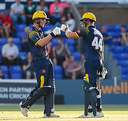 Glamorgan's Craig Meschede celebrates with team-mate Nick Selman<br /> <br /> Photographer Simon King/Replay Images<br /> <br /> Vitality Blast T20 - Round 8 - Glamorgan v Gloucestershire - Friday 3rd August 2018 - Sophia Gardens - Cardiff<br /> <br /> World Copyright © Replay Images . All rights reserved. info@replayimages.co.uk - http://replayimages.co.uk