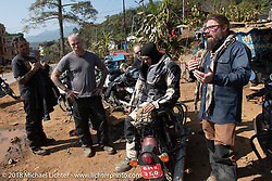 Ready to get back on the road after a quick fix to my sissy bar at a side of the road machine shop on day-4 of our Himalayan Heroes adventure riding from Pokhara to Kalopani, Nepal. Friday, November 9, 2018. Photography ©2018 Michael Lichter.