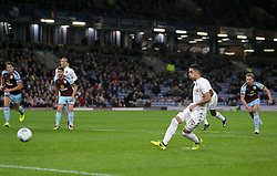 Leeds United's Pablo Hernandez scores his side's second goal of the game during the Carabao Cup, third round match at Turf Moor, Burnley.