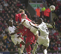 Photo. Glyn Thomas.<br /> Liverpool v Leeds Utd. Barclaycard Premiership.<br /> Anfield, Liverpool. 25/10/03.<br /> A solid Liverpool defence prevents Leeds from clawing their way back into the game.