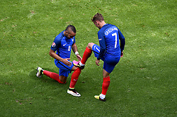 Antoine Griezmann of France celebrates scoring his second goal of the game with Dimitri Payet of France  - Mandatory by-line: Joe Meredith/JMP - 26/06/2016 - FOOTBALL - Stade de Lyon - Lyon, France - France v Republic of Ireland - UEFA European Championship Round of 16