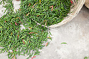 Green chillies for sale at Wangdue Phondrang, Bhutan. Chillies are the main ingredient in the Bhutanese national dish 'ema datse', chillies with cheese.