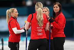 Great Britain's skipper Eve Muirhead (right) with teammates Anna Sloan (left), Lauren Gray and Vicki Adams during the Women's Bronze Medal match at the Gangneung Curling Centre during day fifteen of the PyeongChang 2018 Winter Olympic Games in South Korea.