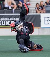 AMSTELVEEN -  keeper Joren Romijn (Amsterdam)  tijdens de hockey hoofdklasse competitiewedstrijd  heren, Amsterdam-HC Tilburg (3-0).  COPYRIGHT KOEN SUYK