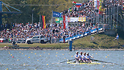 """""""Please read the caption carefully"""". Brandenburg. GERMANY. GBR M4-, BowAlex GREGORY, Mo SBIHI, George NASH and Constantine LOULOUDIS battle the conditions at the 1000 meter mark. 2016 European Rowing Championships at the Regattastrecke Beetzsee<br /> <br /> Sunday  08/05/2016 <br /> <br /> [Mandatory Credit; Igor MEIJER/Intersport-images]"""