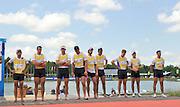 Munich, GERMANY,   GBR M8+, left to right Cox, Phelan HILL, James FOAD, Matt LANGRIDGE, Rick EGINGTON, Tom RANSLEY, Mo SBIHI, Marcus BATEMAN, Alex PARTRIDGE, Greg SEARLE, Bronze Medalist. 2012 World Cup III on the Munich Olympic Rowing Course,  Sunday   17/06/2012. [Mandatory Credit Peter Spurrier/ Intersport Images]