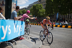 Selfie sticks were everywhere during the La Course, a 89 km road race in Paris on July 24, 2016 in France.