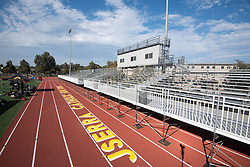August 28, 2017 - San Juan Capistrano, CA, USA - A view of newly installed stands ahead of the first home football game played on campus in school history at JSerra High School on Monday, August 28, 2017 in San Juan Capistrano, Calif. (Credit Image: © Josh Barber/The Orange County Register via ZUMA Wire)