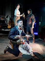 Whisper House <br /> by Duncan Sheik<br /> at The Other Place, Westminster, London, Great Britain <br /> Press photocall <br /> 13th April 2017 <br /> <br /> <br /> Nicholas Goh as Yashujiro.<br /> <br /> Simon Lipkin as Sheriff<br /> <br /> <br /> Dianne Pilkington as Lily<br /> <br /> Stanley Jarvis as  Christopher<br /> <br /> Photograph by Elliott Franks <br /> Image licensed to Elliott Franks Photography Services