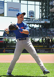 June 13, 2018 - Milwaukee, WI, U.S. - MILWAUKEE, WI - JUNE 13: Chicago Cubs Infield Tommy La Stella (2) warms up before a MLB game between the Milwaukee Brewers and Chicago Cubs on June 13, 2018 at Miller Park in Milwaukee, WI. The Brewers defeated the Cubs 1-0.(Photo by Nick Wosika/Icon Sportswire) (Credit Image: © Nick Wosika/Icon SMI via ZUMA Press)