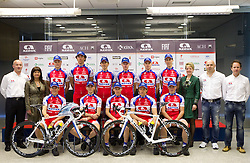 2nd line (from L): Bogdan Fink, Mojca Novak, Matej Gnezda, Blaz Jarc, Mitja Mahoric, Tomaz Nose, Primoz Segina, Jure Zagar, Sonja Gole, Milan Erzen and Bostjan Mervar; 1st line:  Kristjan Fajt, Blaz Furdi, Pavel Gorenc, Marco Haller and Aljaz Hocevar at press conference of Pro Cycling Team Adria Mobil Novo mesto before new season, on March 8, 2011 at ACH, Ljubljana, Slovenia. (Photo By Vid Ponikvar / Sportida.com)