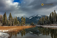 Early winter snow along Holland Lake in the Flathead National Forest, Montana, USA