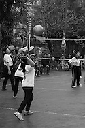 Vietnamese women play a volleyball game in Tay Ho, Hanoi, Vietnam, Southeast Asia
