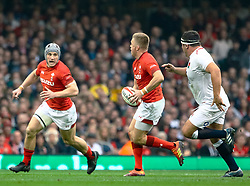 Gareth Anscombe of Wales<br /> <br /> Photographer Simon King/Replay Images<br /> <br /> Six Nations Round 3 - Wales v England - Saturday 23rd February 2019 - Principality Stadium - Cardiff<br /> <br /> World Copyright © Replay Images . All rights reserved. info@replayimages.co.uk - http://replayimages.co.uk