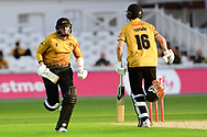 Callum Parkinson and Tom Taylor of Leicestershire during the Vitality T20 Blast North Group match between Nottinghamshire County Cricket Club and Leicestershire County Cricket Club at Trent Bridge, Nottingham, United Kingdom on 4 September 2020.