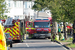 ©Licensed to London News Pictures 14/09/2020  <br /> Kidbrooke, UK.The scene. A bin lorry has crashed into multiple cars and a house in Kidbrooke, South East London. A number of people have been injured police, fire and ambulance are all on scene. credit:Grant Falvey/LNP