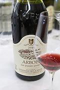 bottle with moulded relief on the neck les grandes gardes domaine de la pinte arbois france