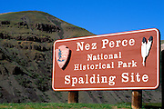 National Park sign at the Spalding Site visitor center, Nez Perce National Historic Park, Idaho