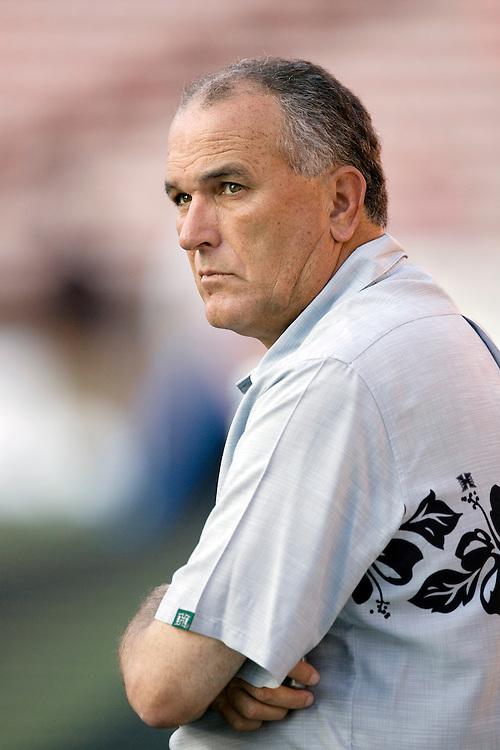 June Jones, head coach of the University of Hawaii football team.
