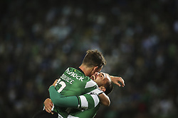October 22, 2017 - Lisbon, Portugal - Sporting's forward Bas Dost (R) celebrates with Sporting's defender Podence after scoring a goal during the Portuguese League  football match between Sporting CP and Chaves at Jose Alvalade  Stadium in Lisbon on October 22, 2017. (Credit Image: © Carlos Costa/NurPhoto via ZUMA Press)