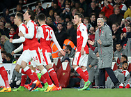Arsenal's Arsene Wenger celebrates with his side during the Premier League match at the Emirates Stadium, London. Picture date: April 26th, 2017. Pic credit should read: David Klein/Sportimage